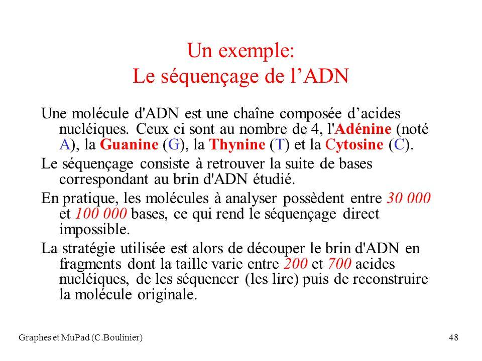 Graphes et MuPad (C.Boulinier)48 Un exemple: Le séquençage de lADN Une molécule d'ADN est une chaîne composée dacides nucléiques. Ceux ci sont au nomb