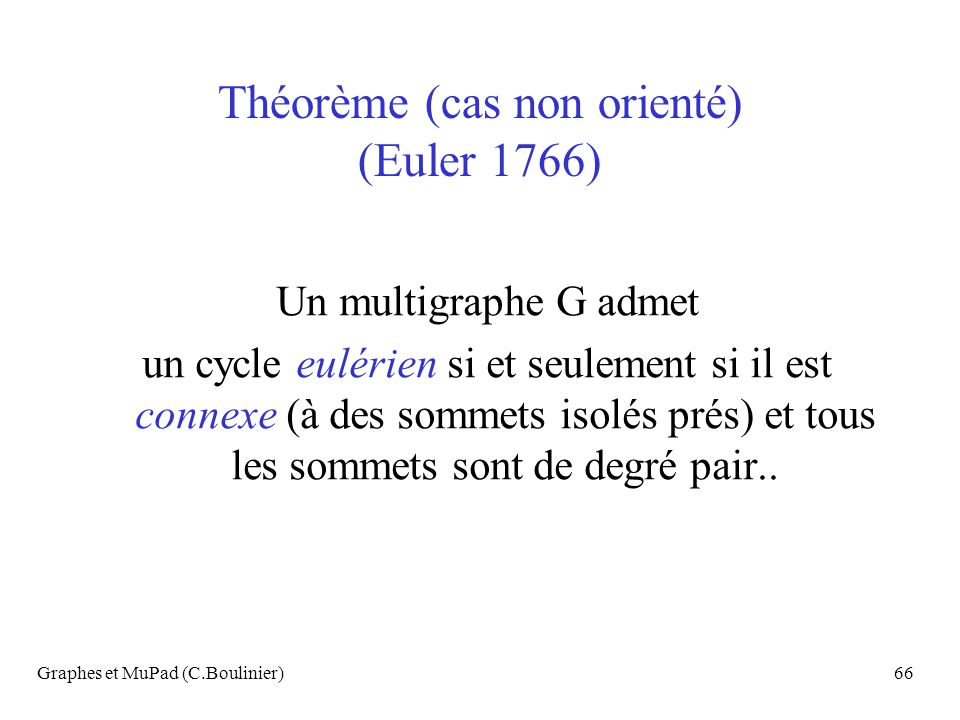 Graphes et MuPad (C.Boulinier)66 Théorème (cas non orienté) (Euler 1766) Un multigraphe G admet un cycle eulérien si et seulement si il est connexe (à