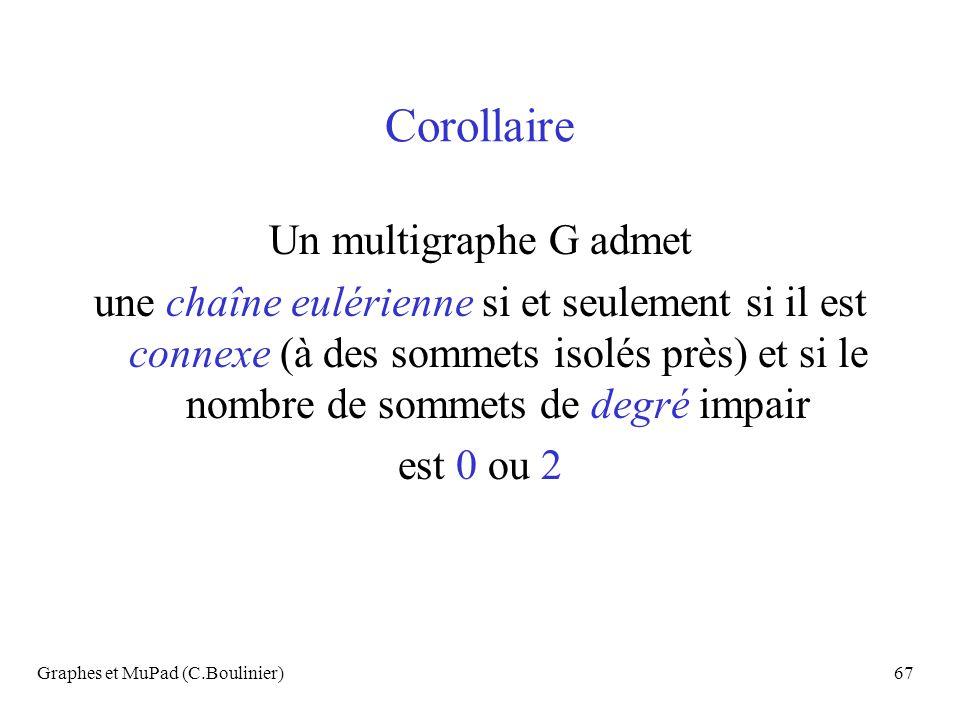 Graphes et MuPad (C.Boulinier)67 Corollaire Un multigraphe G admet une chaîne eulérienne si et seulement si il est connexe (à des sommets isolés près)