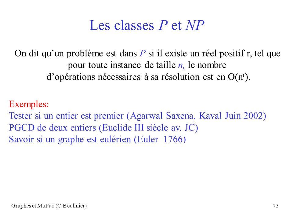 Graphes et MuPad (C.Boulinier)75 Les classes P et NP On dit quun problème est dans P si il existe un réel positif r, tel que pour toute instance de ta