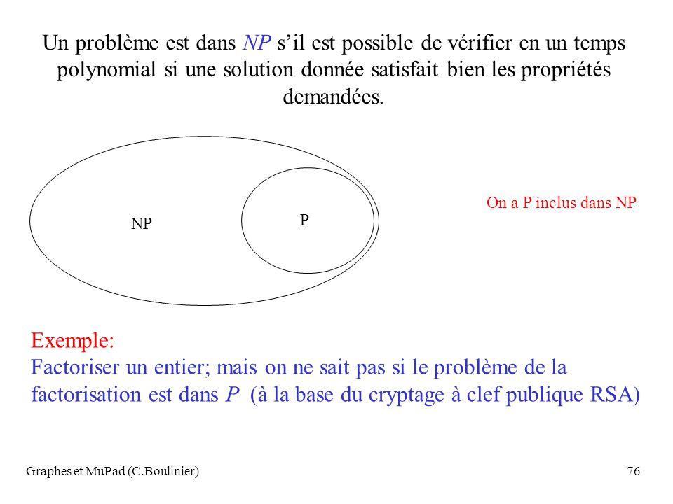 Graphes et MuPad (C.Boulinier)76 Un problème est dans NP sil est possible de vérifier en un temps polynomial si une solution donnée satisfait bien les