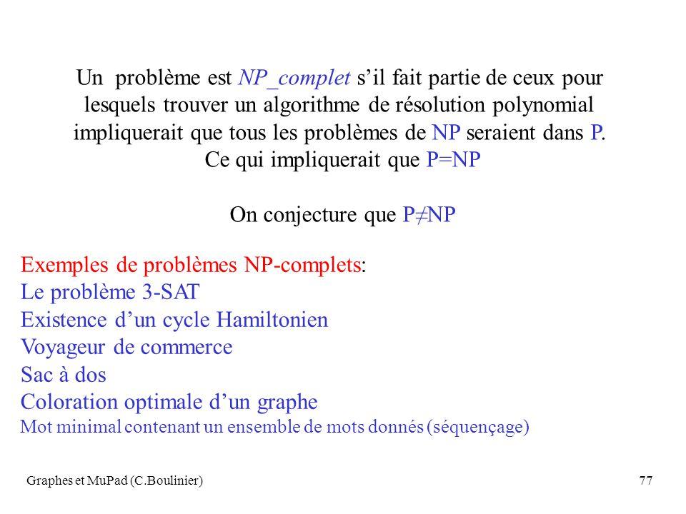 Graphes et MuPad (C.Boulinier)77 Un problème est NP_complet sil fait partie de ceux pour lesquels trouver un algorithme de résolution polynomial impli