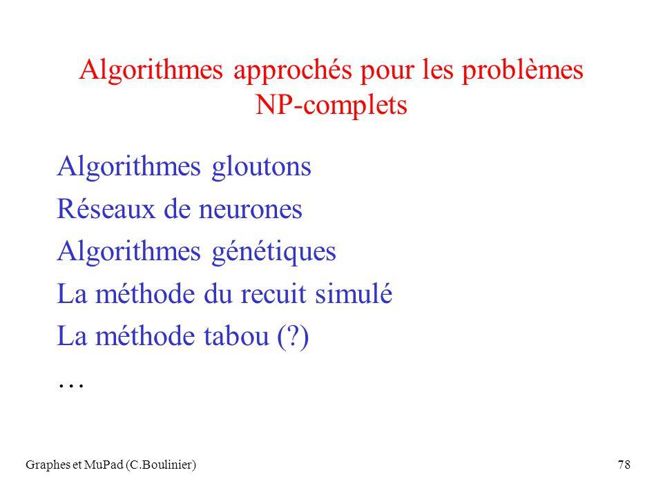 Graphes et MuPad (C.Boulinier)78 Algorithmes approchés pour les problèmes NP-complets Algorithmes gloutons Réseaux de neurones Algorithmes génétiques