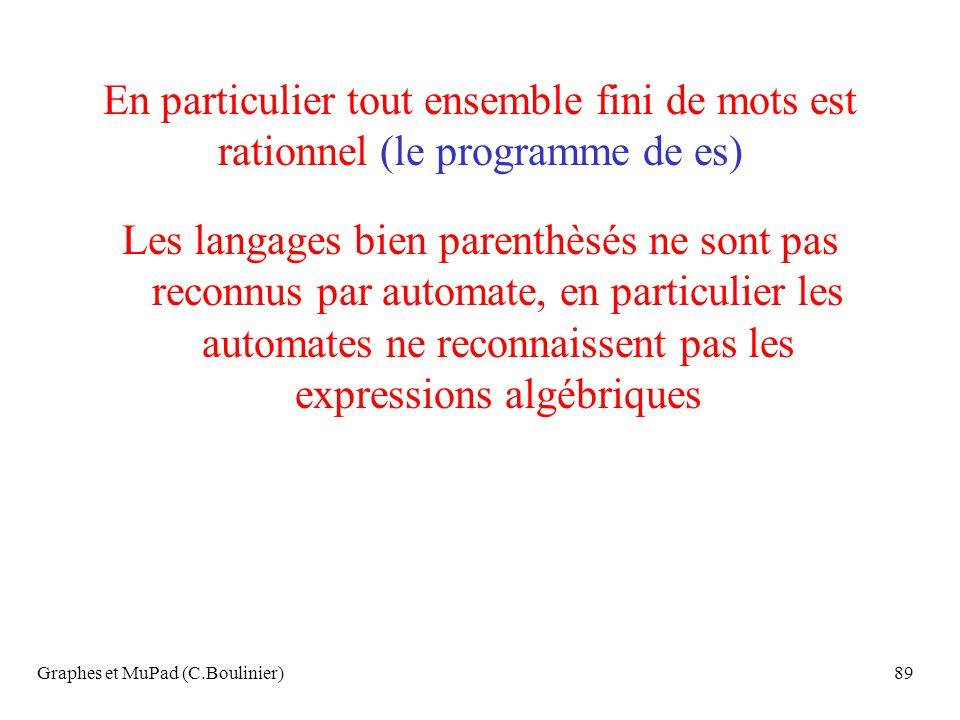 Graphes et MuPad (C.Boulinier)89 En particulier tout ensemble fini de mots est rationnel (le programme de es) Les langages bien parenthèsés ne sont pa