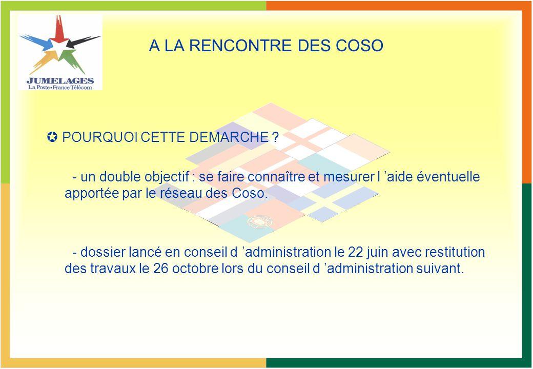 A LA RENCONTRE DES COSO POURQUOI CETTE DEMARCHE ? - un double objectif : se faire connaître et mesurer l aide éventuelle apportée par le réseau des Co