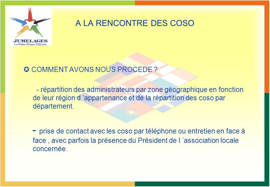 A LA RENCONTRE DES COSO COMMENT AVONS NOUS PROCEDE ? - répartition des administrateurs par zone géographique en fonction de leur région d appartenance