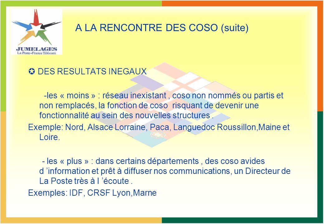 A LA RENCONTRE DES COSO (suite) DES RESULTATS INEGAUX -les « moins » : réseau inexistant, coso non nommés ou partis et non remplacés, la fonction de c
