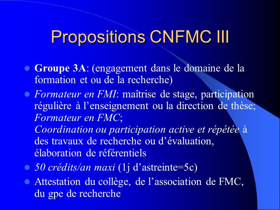 Propositions CNFMC III Groupe 3A: (engagement dans le domaine de la formation et ou de la recherche) Formateur en FMI: maîtrise de stage, participation régulière à lenseignement ou la direction de thèse; Formateur en FMC; Coordination ou participation active et répétée à des travaux de recherche ou dévaluation, élaboration de référentiels 50 crédits/an maxi (1j dastreinte=5c) Attestation du collège, de lassociation de FMC, du gpe de recherche