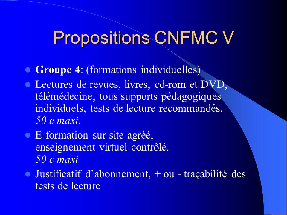 Propositions CNFMC V Groupe 4: (formations individuelles) Lectures de revues, livres, cd-rom et DVD, télémédecine, tous supports pédagogiques individuels, tests de lecture recommandés.