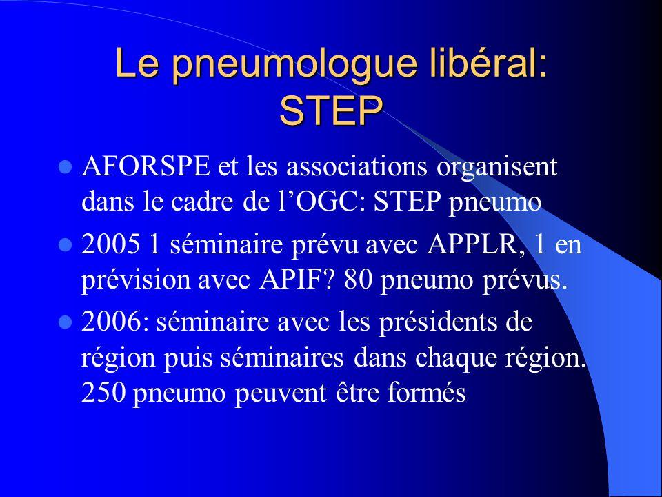 Le pneumologue libéral: STEP AFORSPE et les associations organisent dans le cadre de lOGC: STEP pneumo 2005 1 séminaire prévu avec APPLR, 1 en prévision avec APIF.