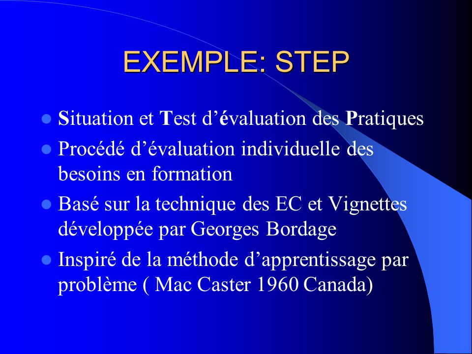 EXEMPLE: STEP Situation et Test dévaluation des Pratiques Procédé dévaluation individuelle des besoins en formation Basé sur la technique des EC et Vignettes développée par Georges Bordage Inspiré de la méthode dapprentissage par problème ( Mac Caster 1960 Canada)