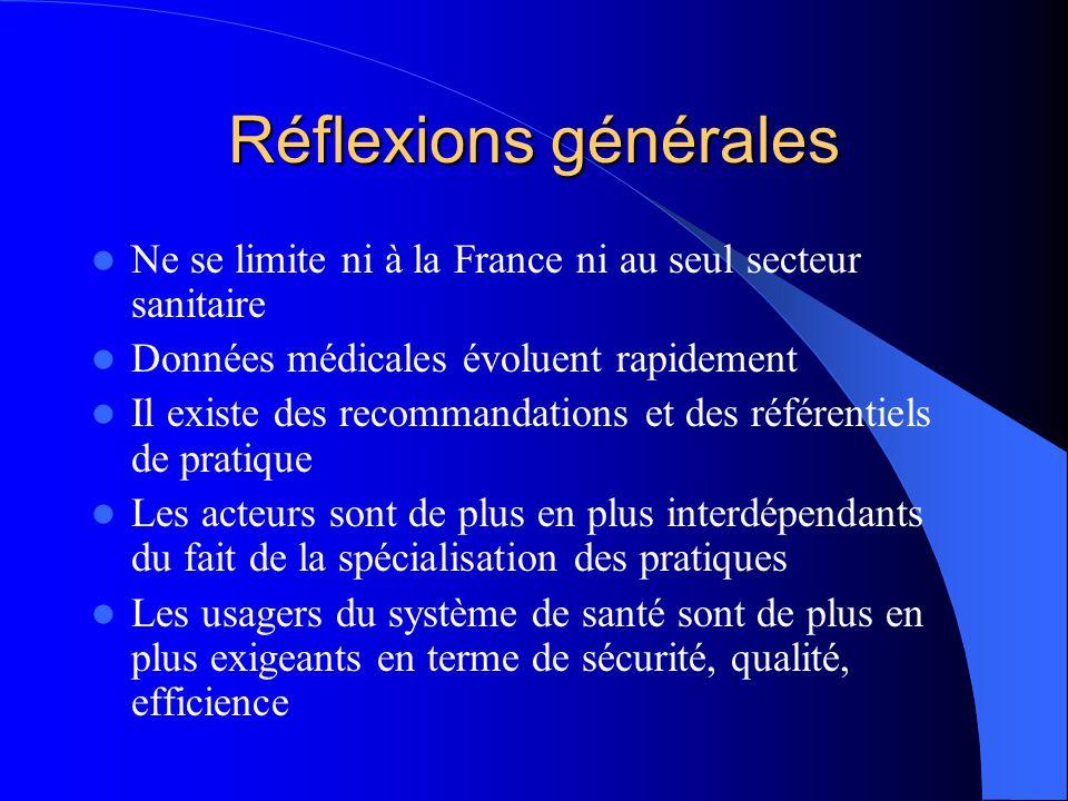 Réflexions générales Ne se limite ni à la France ni au seul secteur sanitaire Données médicales évoluent rapidement Il existe des recommandations et d