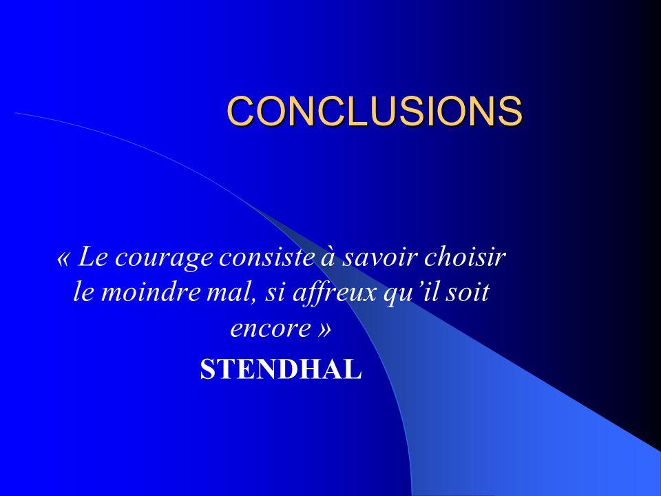 CONCLUSIONS « Le courage consiste à savoir choisir le moindre mal, si affreux quil soit encore » STENDHAL