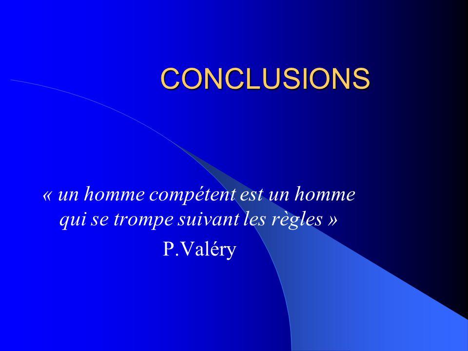CONCLUSIONS « un homme compétent est un homme qui se trompe suivant les règles » P.Valéry