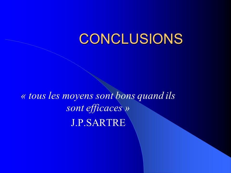 CONCLUSIONS « tous les moyens sont bons quand ils sont efficaces » J.P.SARTRE