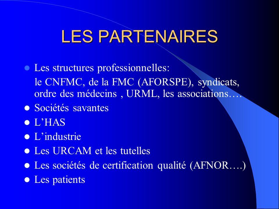 LES PARTENAIRES Les structures professionnelles: le CNFMC, de la FMC (AFORSPE), syndicats, ordre des médecins, URML, les associations….