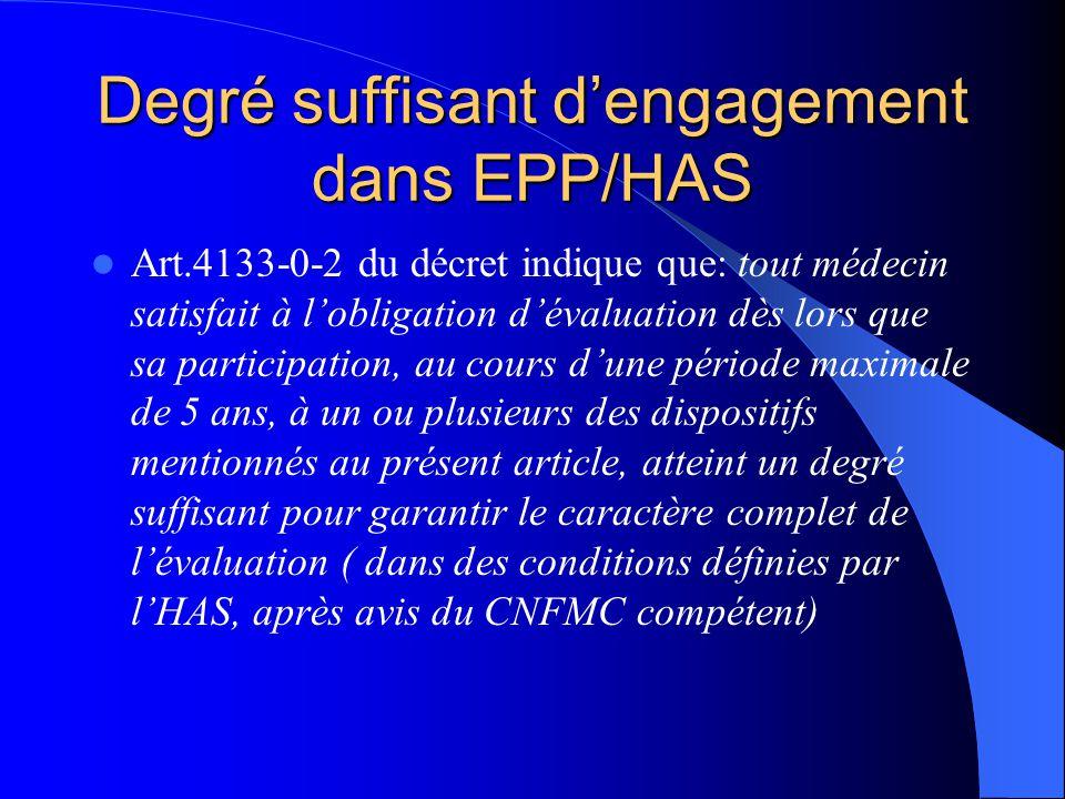Degré suffisant dengagement dans EPP/HAS Art.4133-0-2 du décret indique que: tout médecin satisfait à lobligation dévaluation dès lors que sa particip