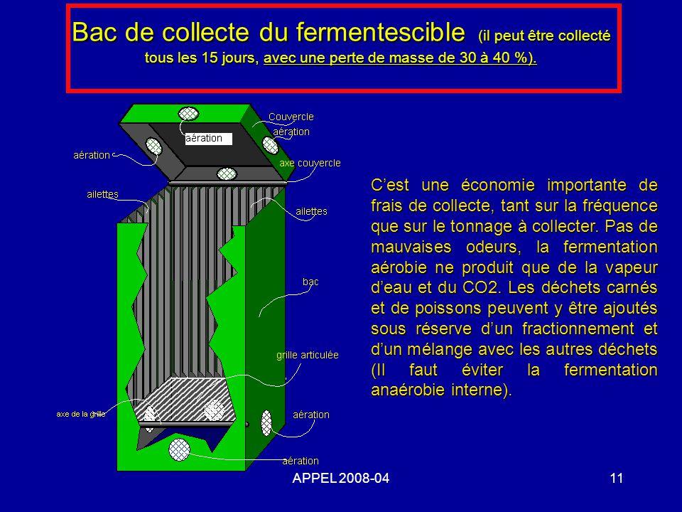 APPEL 2008-0411 Bac de collecte du fermentescible (il peut être collecté tous les 15 jours, avec une perte de masse de 30 à 40 %). Cest une économie i