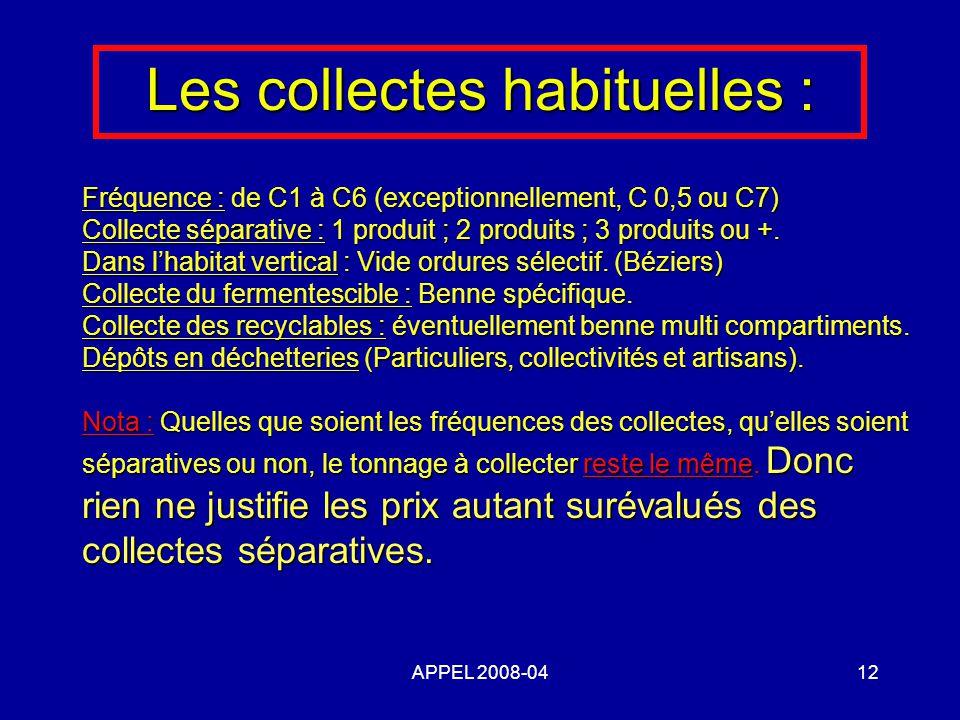 APPEL 2008-0412 Les collectes habituelles : Fréquence : de C1 à C6 (exceptionnellement, C 0,5 ou C7) Collecte séparative : 1 produit ; 2 produits ; 3 produits ou +.