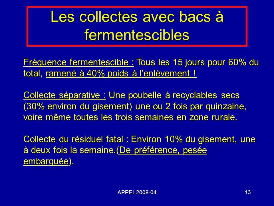 APPEL 2008-0413 Les collectes avec bacs à fermentescibles Fréquence fermentescible : Tous les 15 jours pour 60% du total, ramené à 40% poids à lenlèvement .