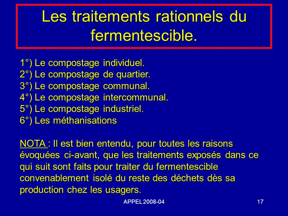 APPEL 2008-0417 Les traitements rationnels du fermentescible. 1°) Le compostage individuel. 2°) Le compostage de quartier. 3°) Le compostage communal.