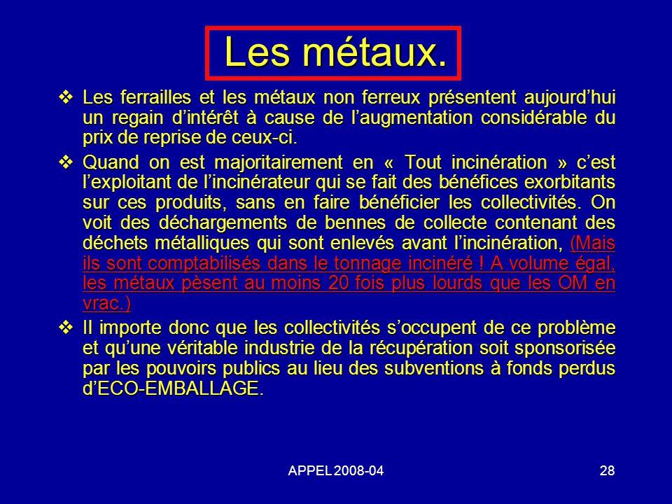 APPEL 2008-0428 Les métaux.