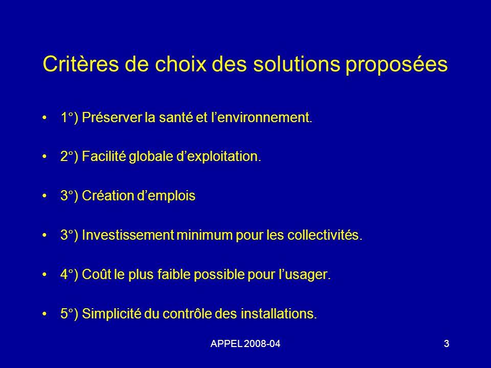 Critères de choix des solutions proposées 1°) Préserver la santé et lenvironnement.