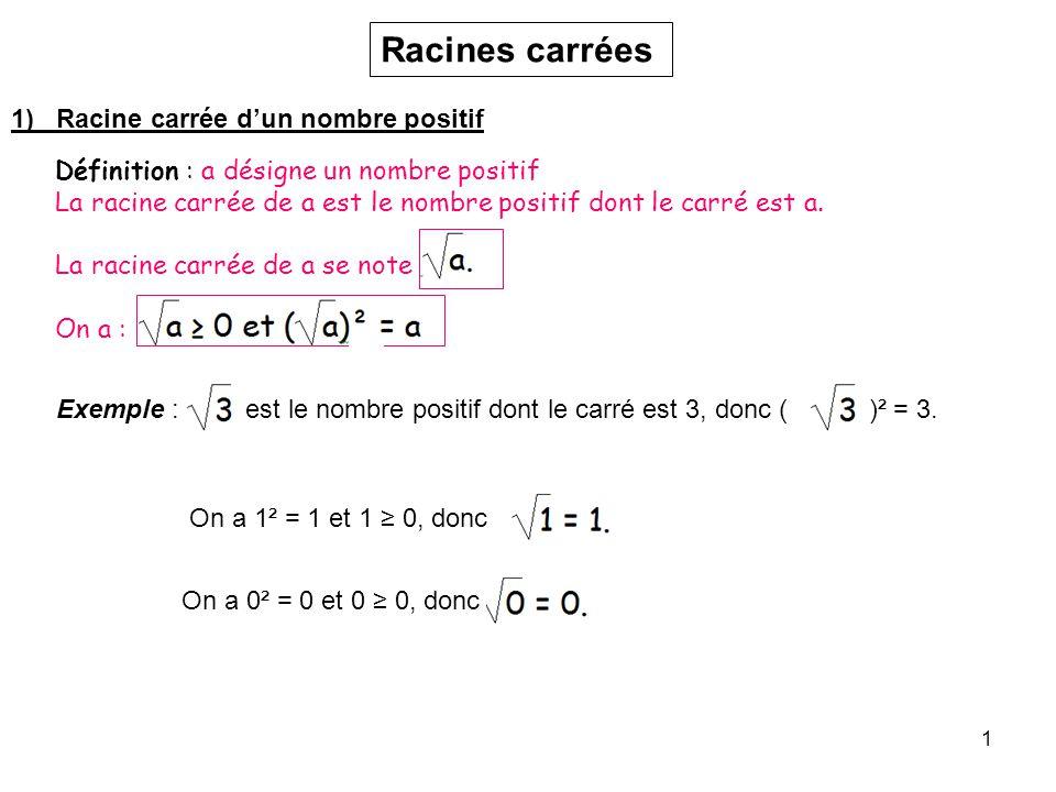 1 Racines carrées 1) Racine carrée dun nombre positif Définition : a désigne un nombre positif La racine carrée de a est le nombre positif dont le car
