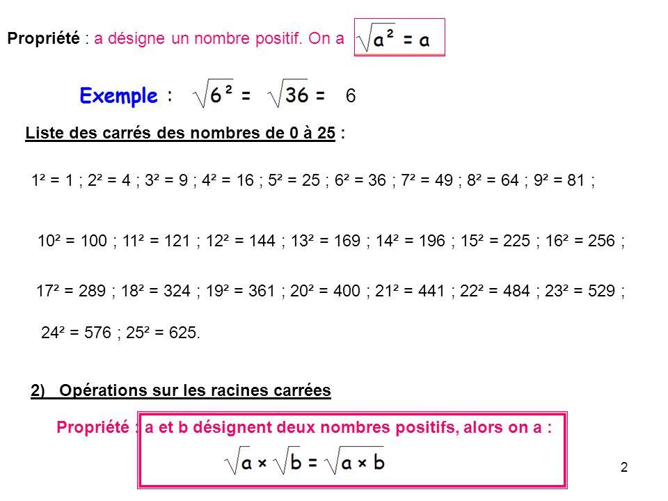 2 Propriété : a désigne un nombre positif. On a Liste des carrés des nombres de 0 à 25 : 1² = 1 ; 2² = 4 ; 3² = 9 ; 4² = 16 ; 5² = 25 ; 6² = 36 ; 7² =