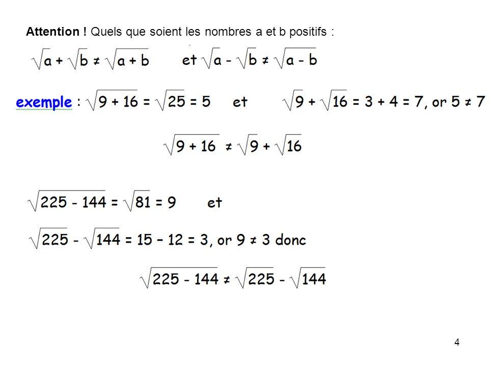 4 Attention ! Quels que soient les nombres a et b positifs :