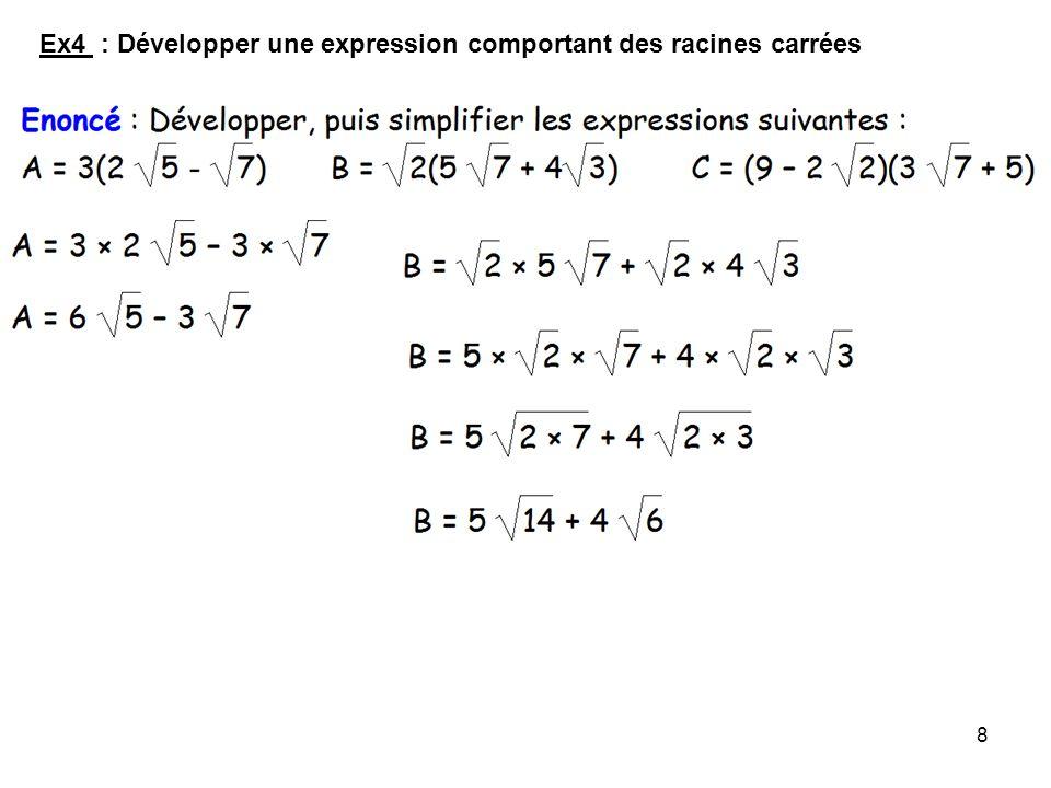 9 Léquation x² = a Propriété : Soit léquation x² = a où x est linconnue et a un nombre donné : Si a > 0, alors cette équation admet deux solutions : Si a = 0, alors cette équation admet une solution : x = 0 ; Si a < 0, alors cette équation nadmet pas de solution.