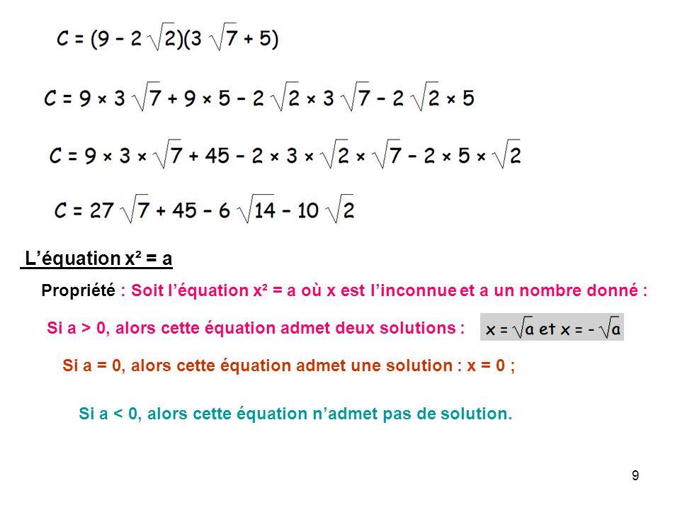 9 Léquation x² = a Propriété : Soit léquation x² = a où x est linconnue et a un nombre donné : Si a > 0, alors cette équation admet deux solutions : S