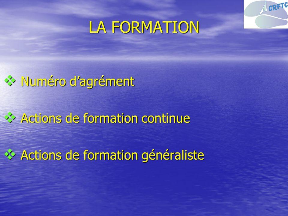 LA FORMATION Numéro dagrément Numéro dagrément Actions de formation continue Actions de formation continue Actions de formation généraliste Actions de