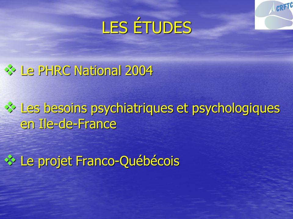 LES ÉTUDES Le PHRC National 2004 Le PHRC National 2004 Les besoins psychiatriques et psychologiques en Ile-de-France Les besoins psychiatriques et psy