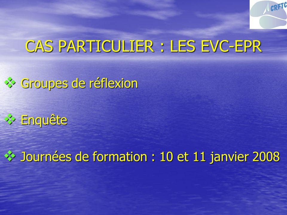 CAS PARTICULIER : LES EVC-EPR Groupes de réflexion Groupes de réflexion Enquête Enquête Journées de formation : 10 et 11 janvier 2008 Journées de form