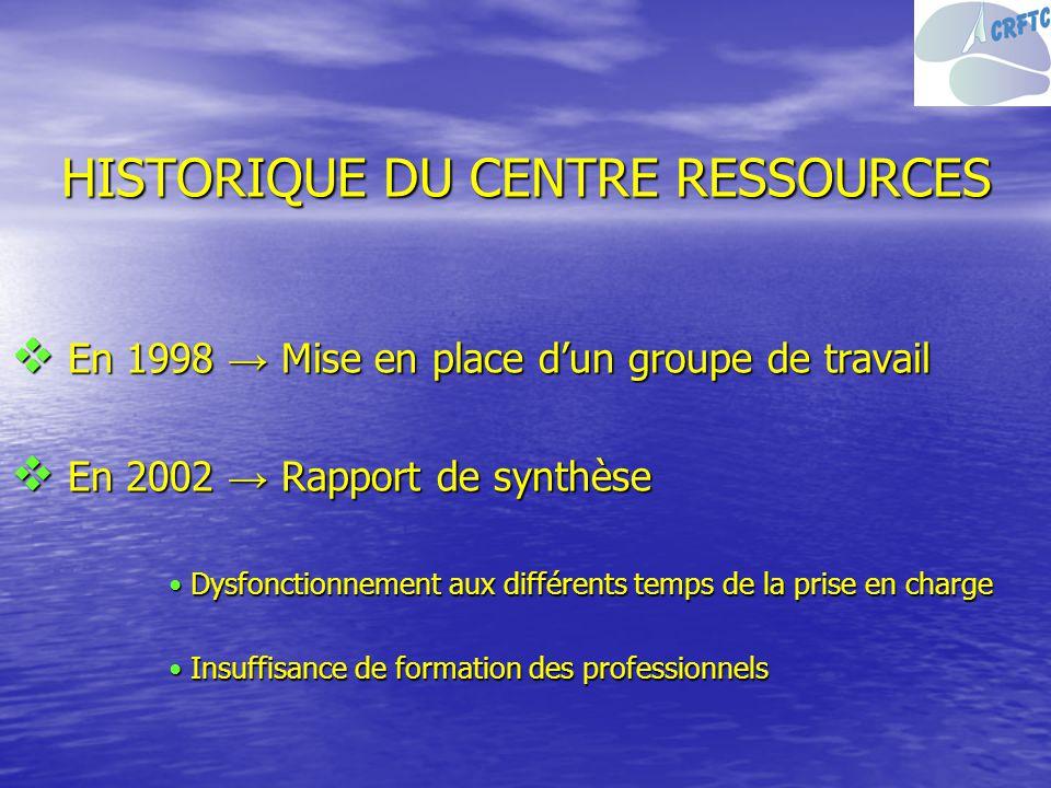 HISTORIQUE DU CENTRE RESSOURCES En 1998 Mise en place dun groupe de travail En 1998 Mise en place dun groupe de travail En 2002 Rapport de synthèse En