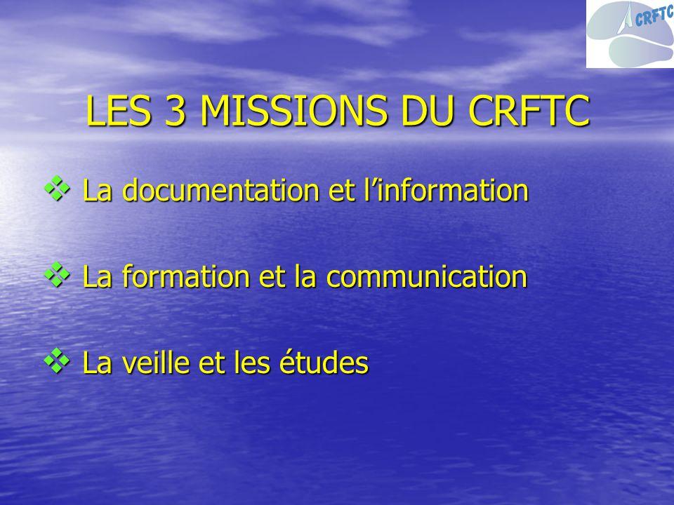 LES 3 MISSIONS DU CRFTC La documentation et linformation La documentation et linformation La formation et la communication La formation et la communic