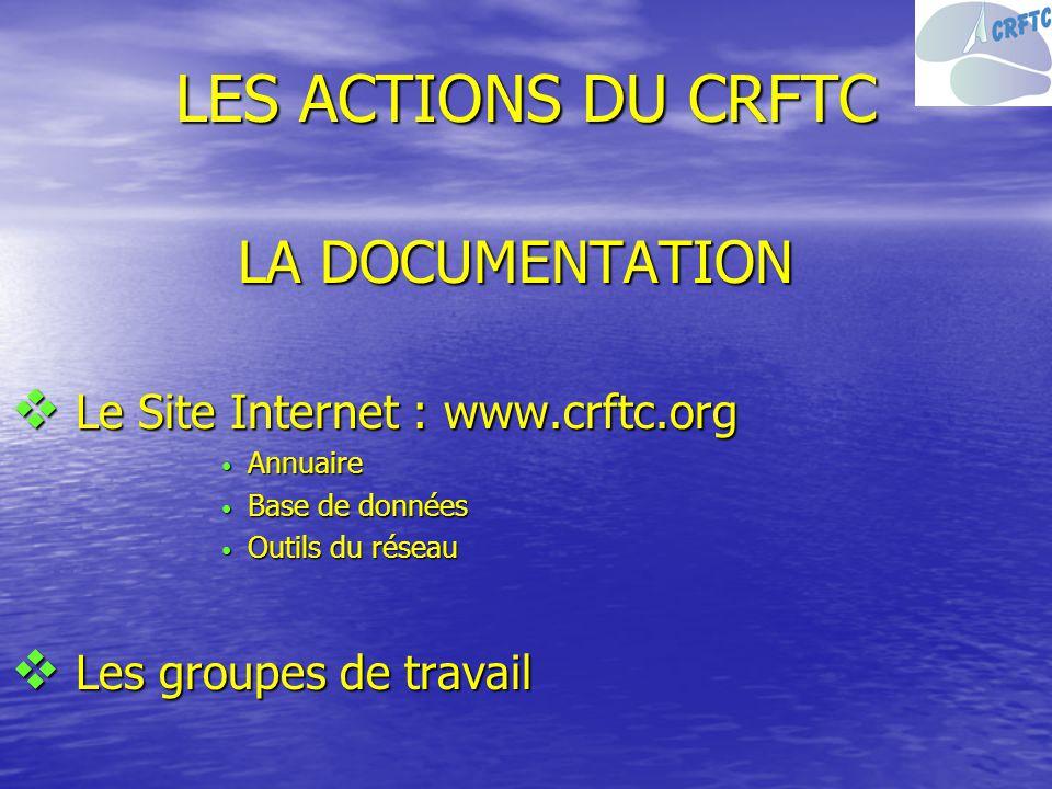 LES ACTIONS DU CRFTC LA DOCUMENTATION Le Site Internet : www.crftc.org Le Site Internet : www.crftc.org Annuaire Annuaire Base de données Base de donn