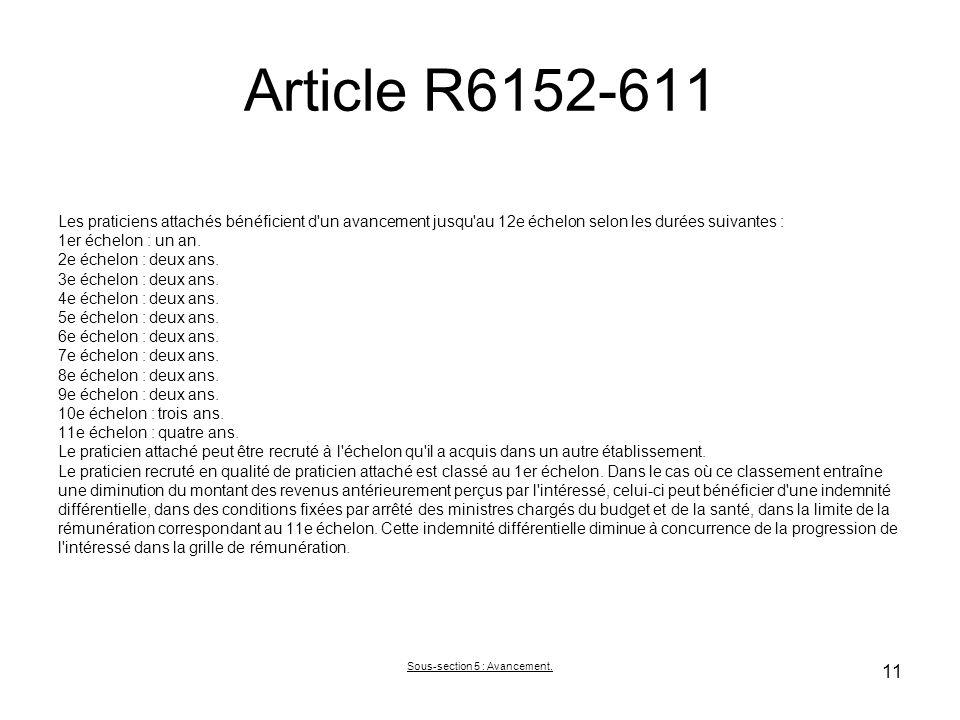 Article R6152-611 Les praticiens attachés bénéficient d un avancement jusqu au 12e échelon selon les durées suivantes : 1er échelon : un an.