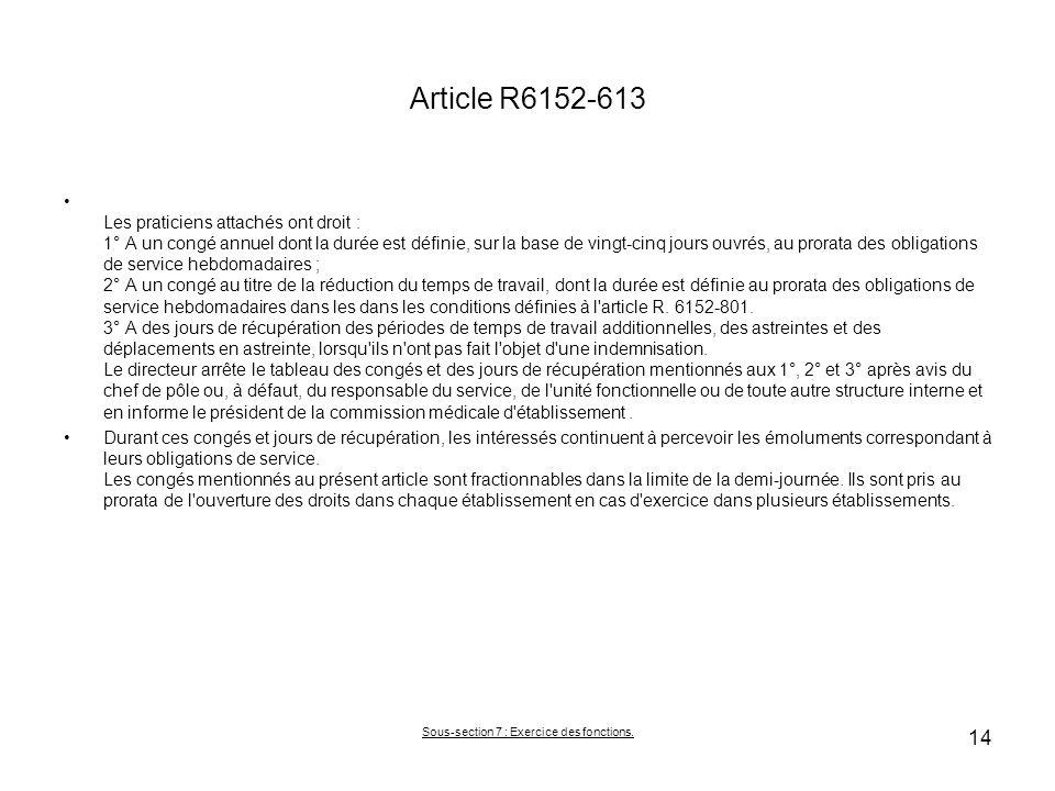 Article R6152-613 Les praticiens attachés ont droit : 1° A un congé annuel dont la durée est définie, sur la base de vingt-cinq jours ouvrés, au prora