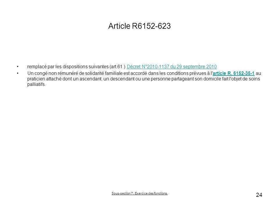 Article R6152-623 remplacé par les dispositions suivantes (art.61 ) Décret N°2010-1137 du 29 septembre 2010Décret N°2010-1137 du 29 septembre 2010 Un congé non rémunéré de solidarité familiale est accordé dans les conditions prévues à l article R.