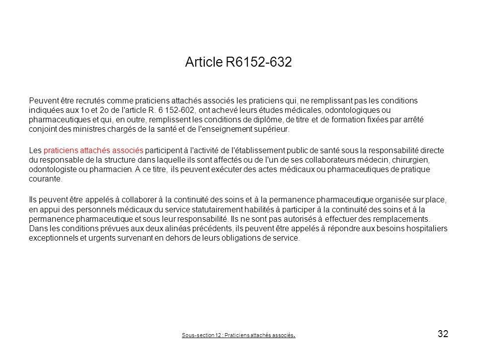 Article R6152-632 Peuvent être recrutés comme praticiens attachés associés les praticiens qui, ne remplissant pas les conditions indiquées aux 1o et 2
