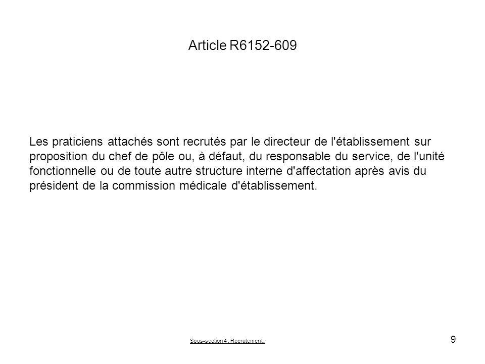 Article R6152-609 Les praticiens attachés sont recrutés par le directeur de l'établissement sur proposition du chef de pôle ou, à défaut, du responsab