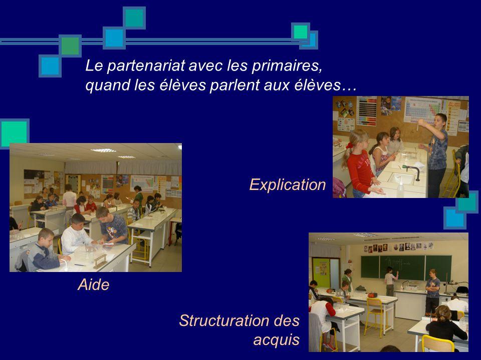 Le partenariat avec les primaires, quand les élèves parlent aux élèves… Explication Aide Structuration des acquis