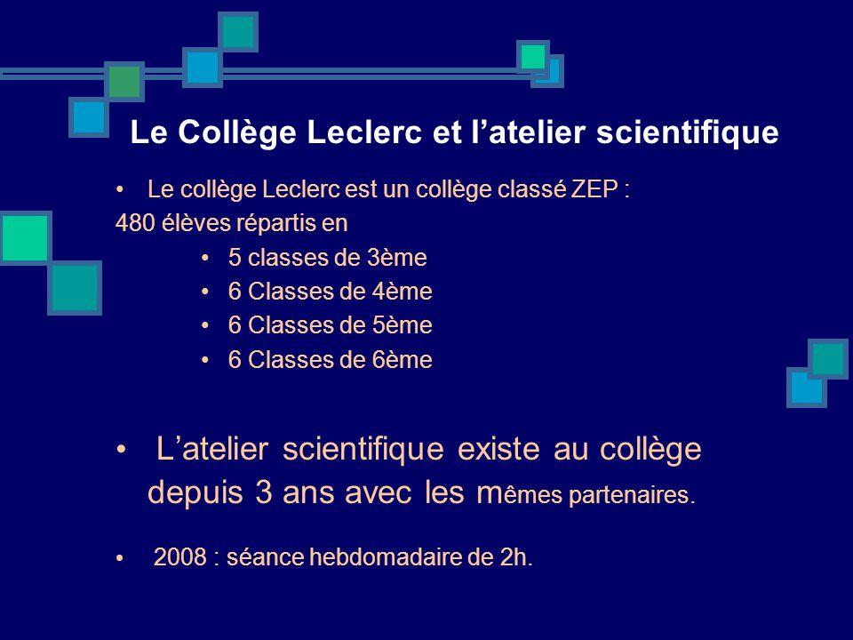 Le Collège Leclerc et latelier scientifique Le collège Leclerc est un collège classé ZEP : 480 élèves répartis en 5 classes de 3ème 6 Classes de 4ème