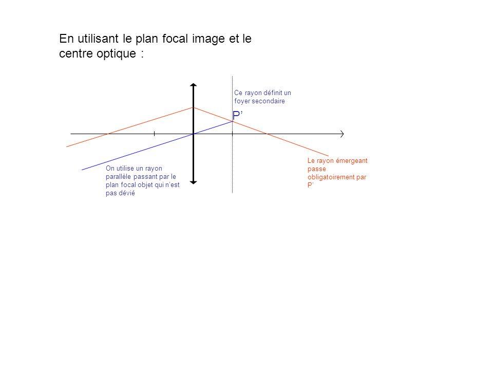 En utilisant le plan focal image et le centre optique : On utilise un rayon parallèle passant par le plan focal objet qui nest pas dévié P Ce rayon dé