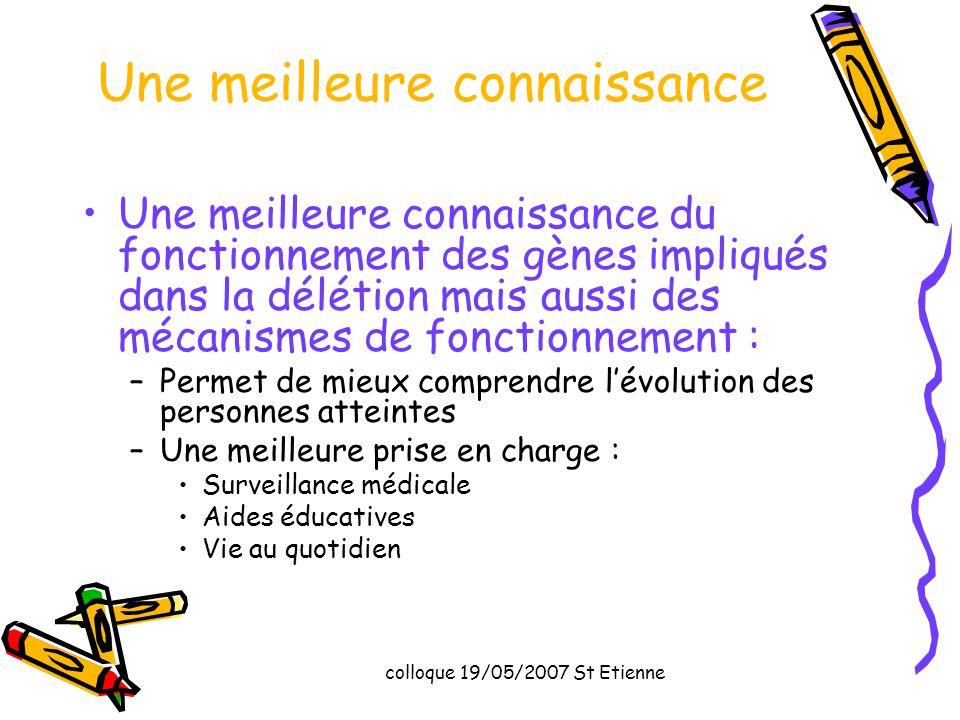 colloque 19/05/2007 St Etienne Une meilleure connaissance Une meilleure connaissance du fonctionnement des gènes impliqués dans la délétion mais aussi
