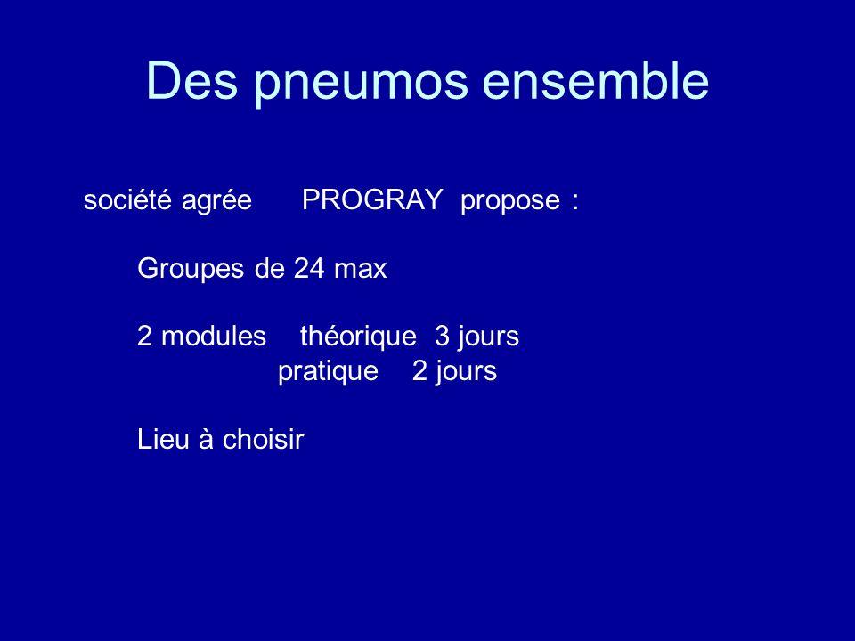 Des pneumos ensemble société agrée PROGRAY propose : Groupes de 24 max 2 modules théorique 3 jours pratique 2 jours Lieu à choisir
