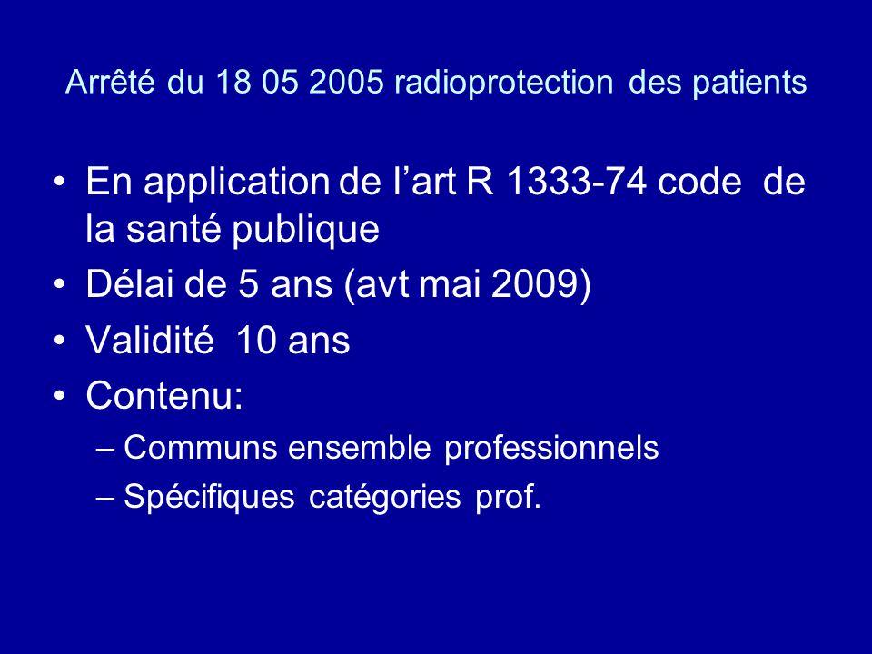 Arrêté du 18 05 2005 radioprotection des patients En application de lart R 1333-74 code de la santé publique Délai de 5 ans (avt mai 2009) Validité 10