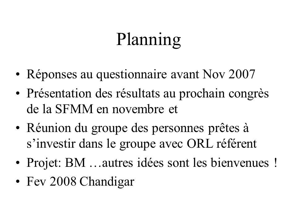 Planning Réponses au questionnaire avant Nov 2007 Présentation des résultats au prochain congrès de la SFMM en novembre et Réunion du groupe des perso